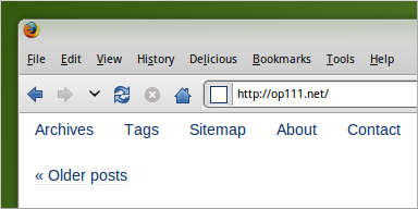 Home page without a Home link in the navigation bar