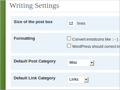 Wordpress Dashboard, Settings, Writing.  Drop-down menu for Default Post Category.