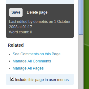WordPress, Dashboard, Edit Page.  Option to not include page in user menus.