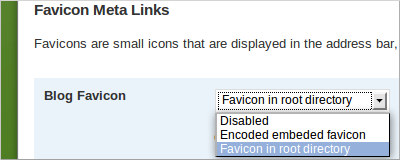 Extended Options plugin for WordPress, drop-down menu to define favicon.