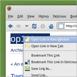Firefox for Linux.  Context menu item to open link in new page.