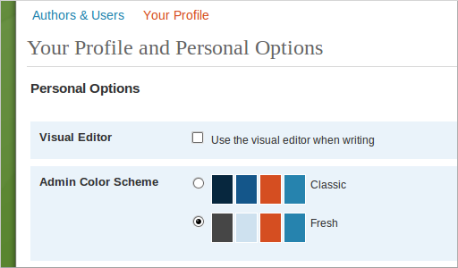 WordPress, profile.  Option to disable the visual editor.