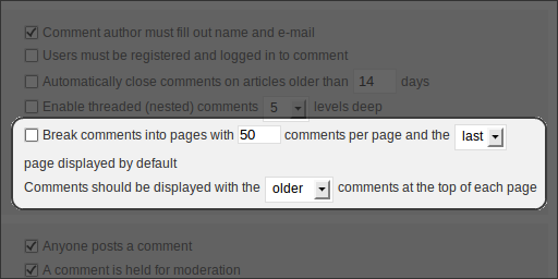 WordPress 2.7 Beta 1, Administration, Settings, Discussion, Paginated Comments
