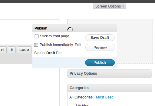 WordPress 2.7 Beta 1, Administration, Edit Post, Moving a metabox