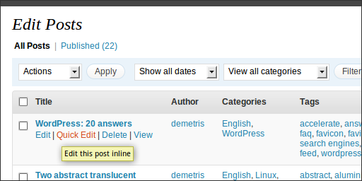 WordPress 2.7 Beta 1, Administration, Posts, Edit, Quick Edit, Step 1