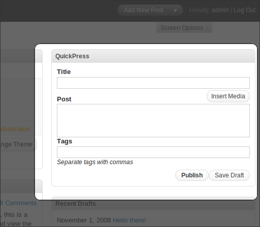 WordPress 2.7 Beta 1, Administration, Dashboard, QuickPress