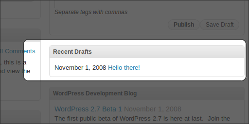 WordPress 2.7 Beta 1, Administration, Dashboard, Recent Drafts
