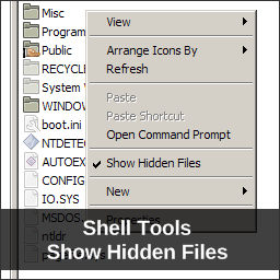 Shell Tools, Show Hidden Files