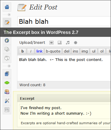 The Excerpt metabox in WordPress 2.7