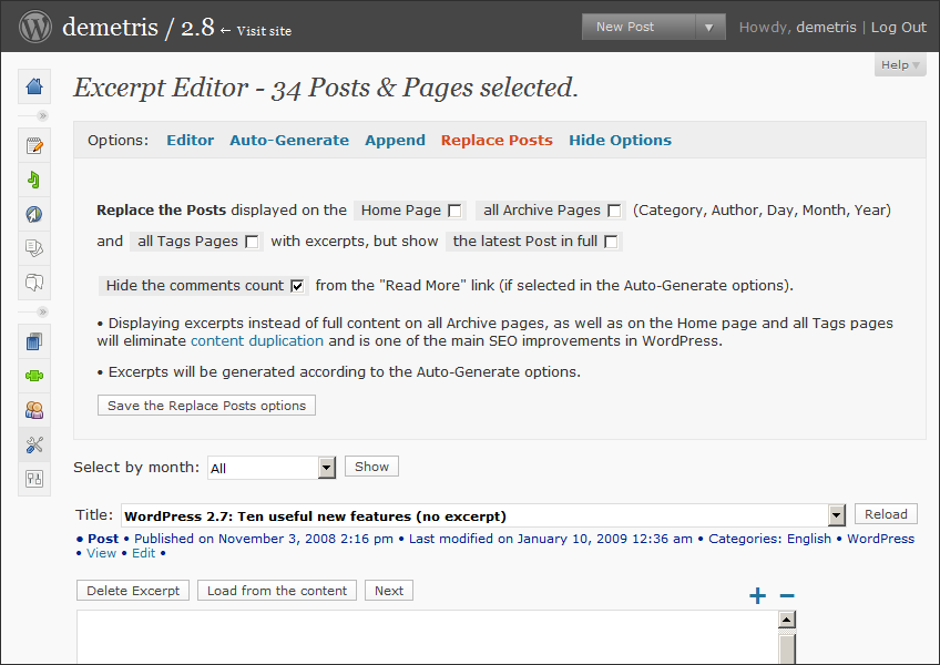 WordPress Excerpt Editor 1.3, Options, Replace Posts