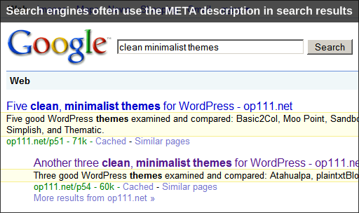 "Google, Search results, Descriptions (""snippets"") highlighted"