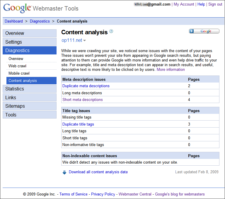 Google Webmaster Tools, Diagnostics, Content analysis, Meta descriptions