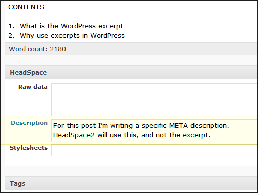 HeadSpace2, Writing a specific META description for a post or page