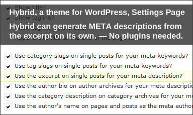 Hybrid for WordPress, Settings, Autogenerate META descriptions