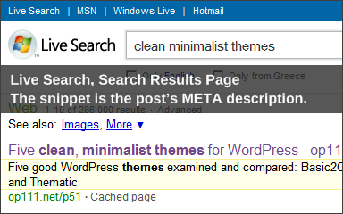"Live Search, part of search results for ""clean minimalist themes"", snippets highlighted"