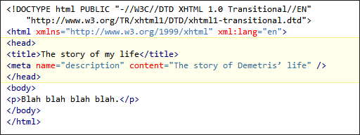 Basic structure of an XHTML document.  The HEAD section is highlighted