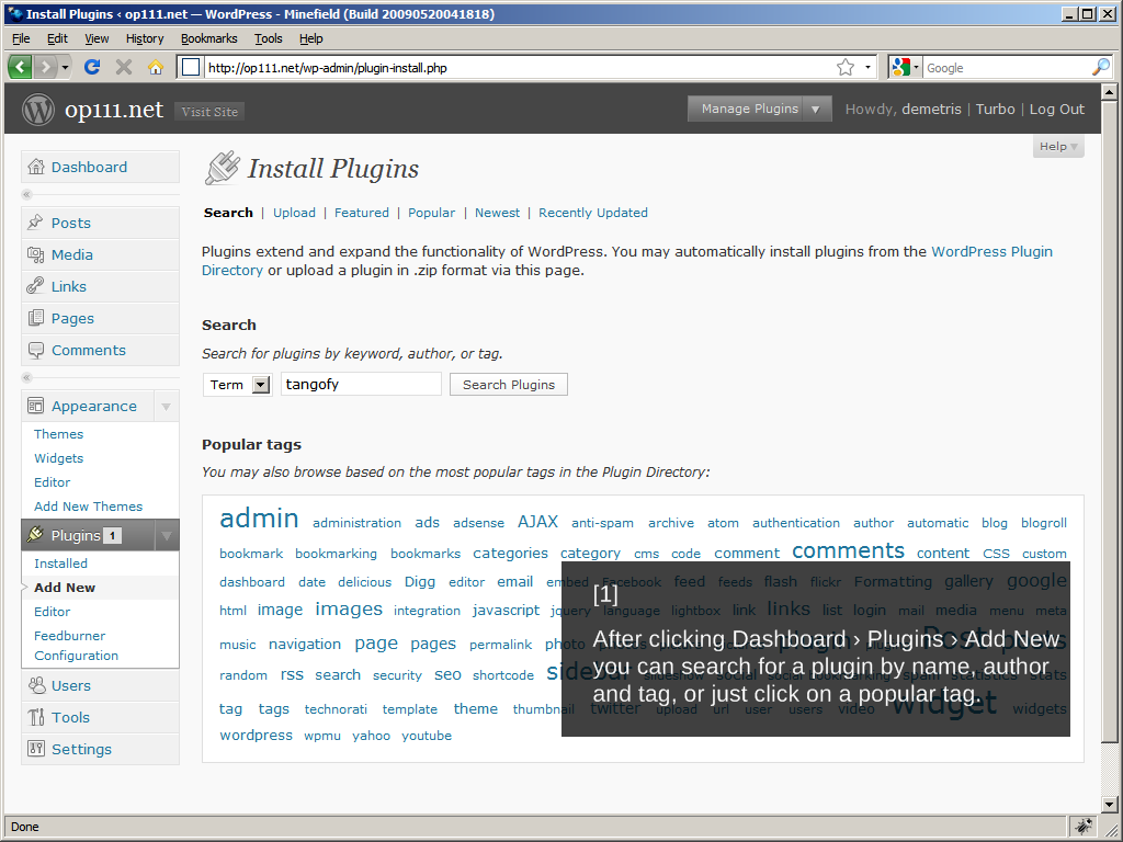 WordPress 2.8: Installing a plugin, Step 1