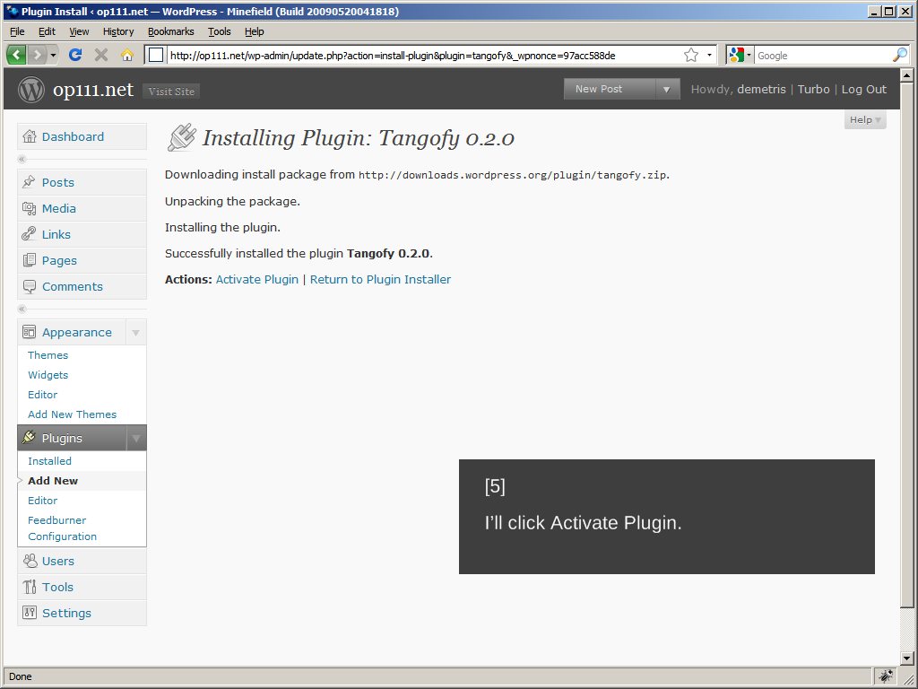 WordPress 2.8: Installing a plugin, Step 5