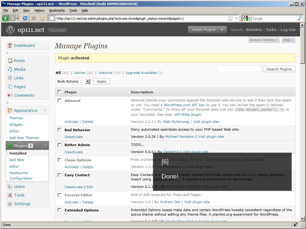 WordPress 2.8: Installing a plugin, Done