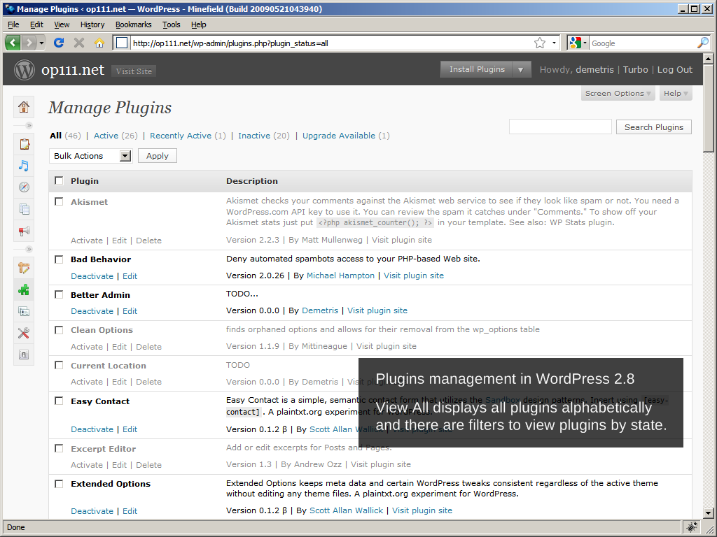 WordPress 2.8: Plugins management