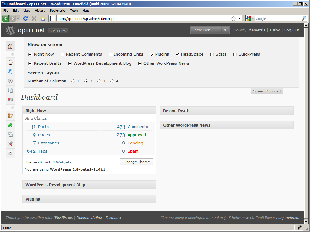 WordPress 2.8: Option to select number of columns in Dashboard