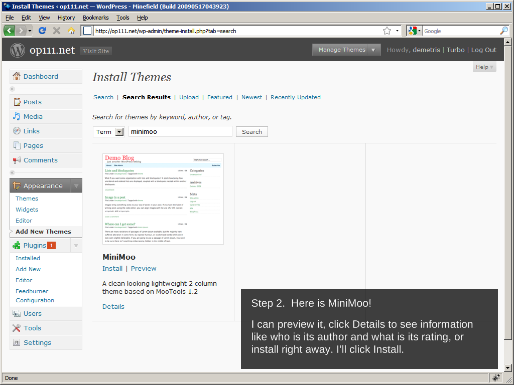 WordPress 2.8: Installing a theme, Step 2