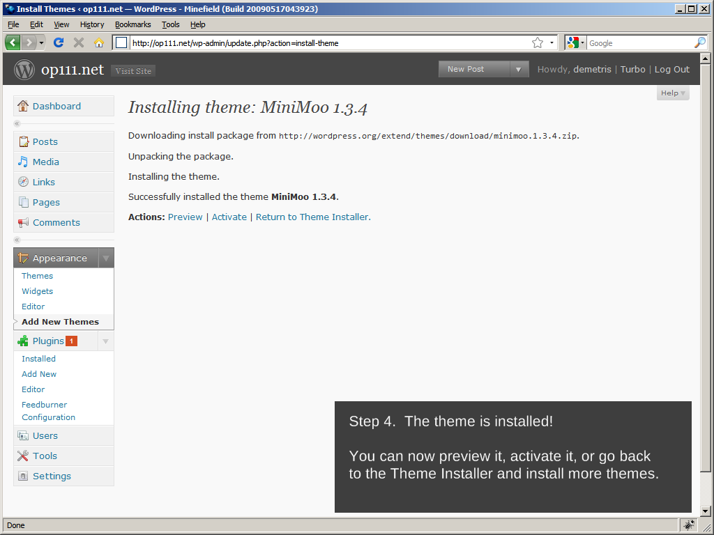 WordPress 2.8: Installing a theme, Step 4