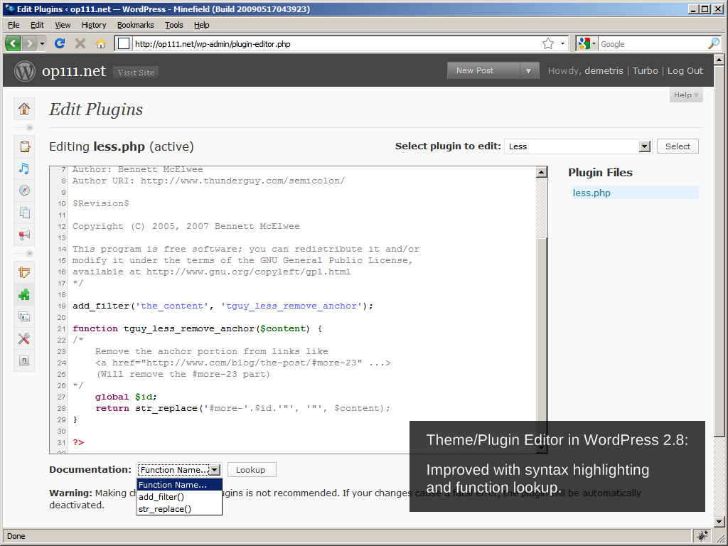 WordPress 2.8: Theme and plugin editor