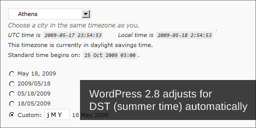 WordPress 2.8 adjusts to DST automatically