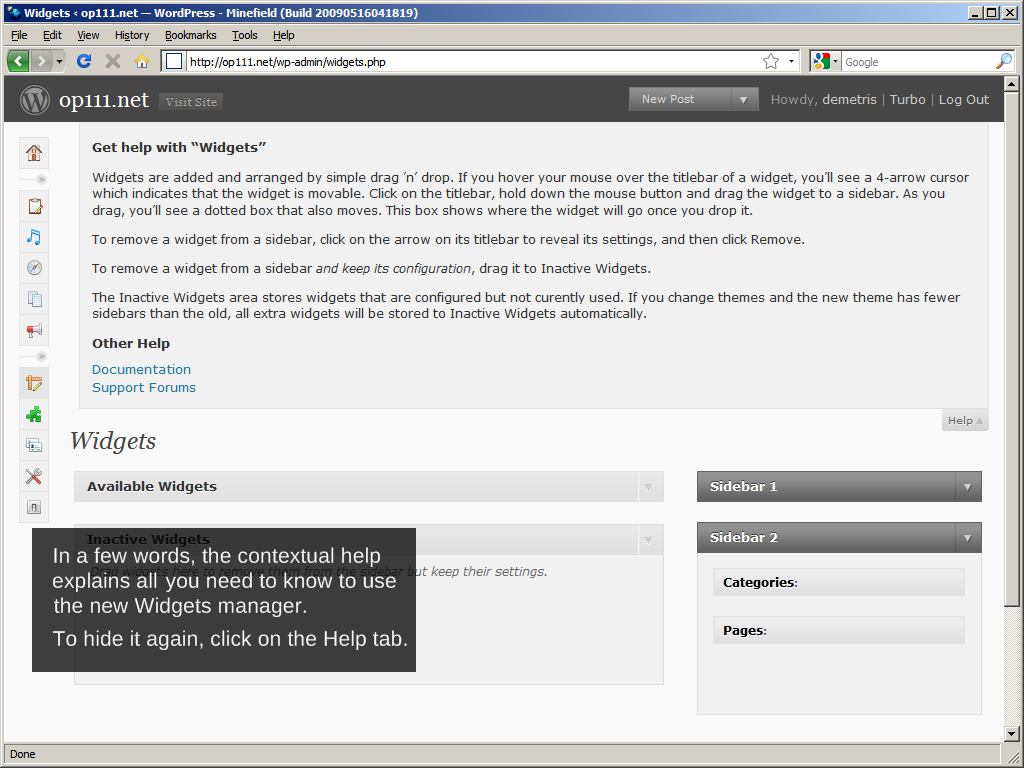 WordPress 2.8: Widgets management, Contextual help