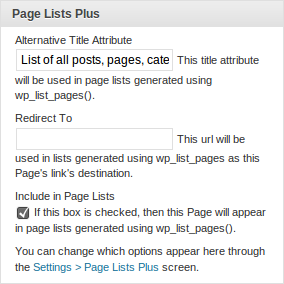 Page Lists Plus 1.1.5 for WordPress, metabox on Edit screen
