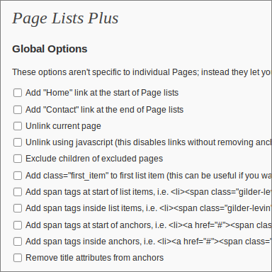 Page Lists Plus 1.1.5 for WordPress, Global Options