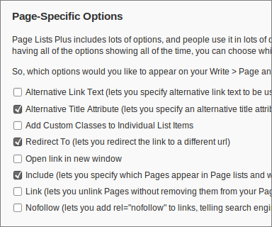 Page Lists Plus 1.1.5 for WordPress, Page-specific Options