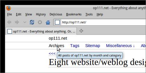 A hyperlink's TITLE attribute, displayed when hovering on the link