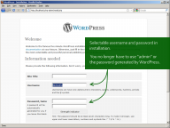 WordPress 3.0: Selectable username and password in installation