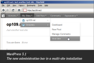 WordPress 3.1, the administration bar in a multi-site setup