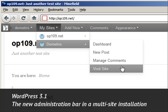 WordPress 3.1, Admin Bar in a multi-site setup