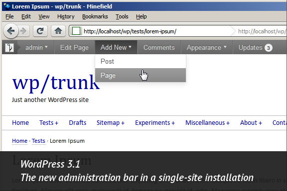 WordPress 3.1, Admin Bar in a single-site setup