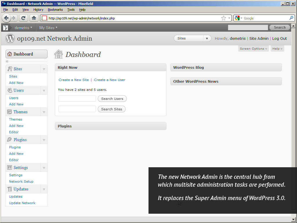 WordPress 3.1, Network Admin